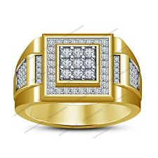 Men's New Awesome Nine Stone Band Ring In 14K Gold Plated Round D/VVS1 Diamond