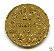 LOUIS PHILIPPE I (1830-1848) 20 FRANCS OR GOLD 1838 W LILLE