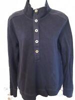 Lauren Ralph Lauren Women's Large Navy Long Sleeve Button Henley Cotton Shirt