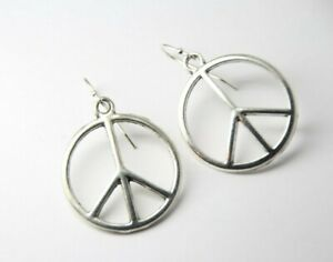 Silver Peace Sign Hoop Earrings Symbolic Hippy Earrings Wire Wrapped Hoop Earrings Lever Backs Silver Peace Sign Earrings Unique
