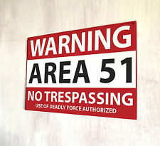 Area 51 No Trespassing Roswell New Mexico Warning sign A4 metal plaque pubs