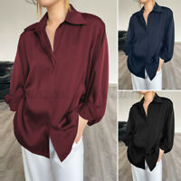 Women's Long Sleeve V Neck OL Tops Blouse Casual Party Button Down Shirt Top Tee