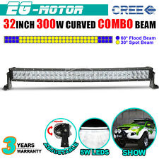32INCH 300W Curved CREE LED Work Light Bar Spot Flood Combo Offroad Driving Lamp