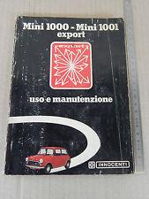 INNOCENTI MINI 1000 1001 EXPORT LIBRETTO USO E MANUTENZIONE 1973 MANUALE MANUAL