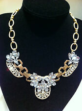 Vintage Crystal Statement Necklace Gold Plate/Tone