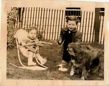 Old Vintage Photograph Two Children in Yard With Puppy Dog