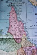 QUEENSLAND STATE AUSTRALIA ATLAS MAP PAGE PLATE 1908 VINTAGE GEORGE F. CRAM