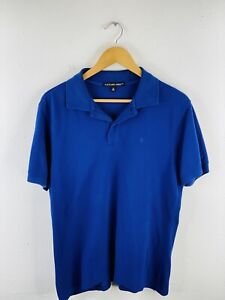 Fletcher Jones Men's Collared Polo Shirt Size M Blue Casual Golf Short Sleeve