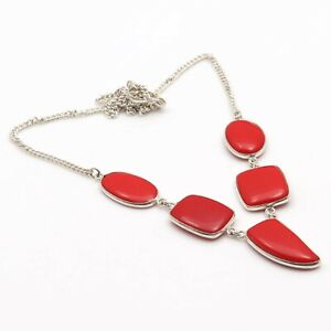 """RED CORAL & HANDMADE 925 SILVER PLATED NECKLACE 19"""", S-6493"""