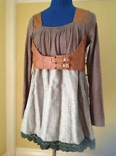M L 38 Brown Wool Faux Leather Steampunk Top Custom Made Salem Unusual Vintage