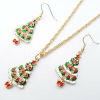 Betsey Christmas Tree Jewelry Necklace Earrings Crystal Set Women Party Gift