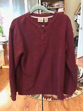 LL Bean Mens Small Reg Henley Shirt Red Burgundy Wine Long Sleeve 3 Buttons