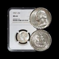 1957 Washington Quarter (Silver) - NGC MS 64 (CH+ UNC) - Toned