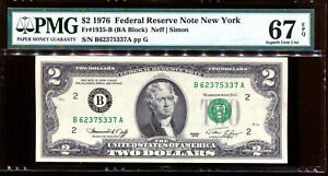 1976 $2 Federal Reserve Note New York #B62375337A PMG 67EPQ