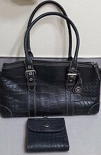 Dooney & Bourke Croco embossed Black Leather satchel