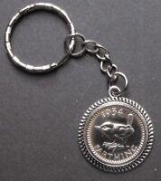 1954 65th birthday Lucky Charm Farthing key ring retirement present a gift box