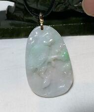 Certified A grade jadeite jade handcarved bird on leaf pendant in 18K gold
