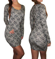 Women Bodycon Sexy Nude Black Long Sleeve Lace Print Party Dress Size 8 10 12 14