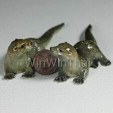 2 Otters Set Ceramic Pottery Statue Animal Miniature Figurine