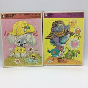 Lot Of 2 Rainbow Works Frame Tray Vintage Puzzles Rainy Day & Petal Pals 1978