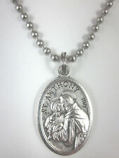 """St Anthony Medal Italy Necklace 24"""" Ball Chain Gift Box & Prayer Card"""