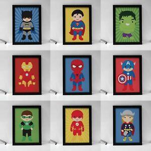 Kids Superhero Kids Room Decor Prints Batman Superman Spiderman 9 Options