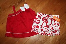 NWT Gymboree Parisian Afternoon Size 6 Set Red Bow Swing Top Shirt Flower Shorts