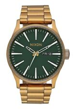 **BRAND NEW** NIXON WATCH THE SENTRY SS PALM GREEN BRASS A3562851 NEW IN BOX!