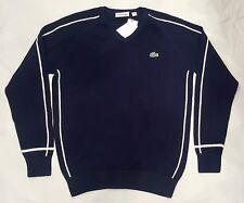 LACOSTE SPORT Piqué V-Neck Golf Sweater Navy-White Size 4/ medium