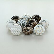 G Decor Set of 10 black and white Ceramic Door Knobs Vintage Shabby Chic