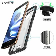 For Moto Z | Poetic [Slim Thin] TPU Bumper Shockproof Black/Clear Case Cover