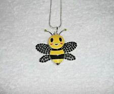 BUMBLE BEE Unwanted Sparkly Large Charm NECKLACE Rhinestone Beekeeper Gift