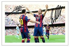 LIONEL MESSI & IVAN RAKITIC FC BARCELONA SIGNED PHOTO PRINT SOCCER