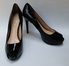 Guess Womens Shoes Heels Black Pumps Peep Toe Patent Leather Patches Size 9.5 M