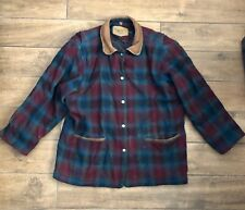 Vintage Woolrich Plaid Multi-Colored Wool Hunting Jacket Button Up Coat Size XXL