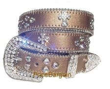 Western Rhinestone Copper Cross Concho Leather Belt M SM