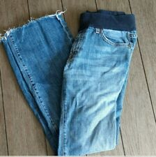 A Pea In The Pod Maternity Flare Jeans with Raw Hem Size 32 excellent condition