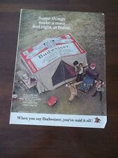 1972 VINTAGE PRINT AD BUDWEISER BEER men camping fishing with Budweiser Tent