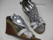 Ladies NEXT white diamante high heel wedges SANDALS MULES UK 6 39 shoes jewels