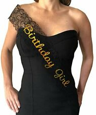 Birthday Girl Sash - Elegant Lace Sash for the Birthday Girl Black & Gold