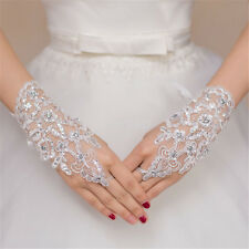 Ladies White Lace Diamante Fingerless Hand Short Wrist Bridal Wedding Gloves New