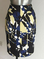 M&S Collection Sizes 10 12 20 22 Navy Mix Abstract Pencil Skirt Back Slit Bnwt