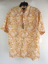New Van Heusen 2XL Aloha Shirt Orange Yellow S/S NWT $50 Hawaiian Button Front