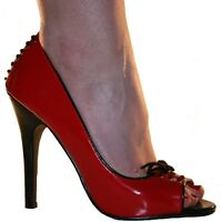 Erosella Peep Sexy Erosella Peep Toe Shoes Red Patent Black Lace