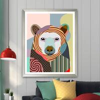 Art Print Polar Bear Wall Poster Home Decor Colorful Animal Portrait Gift