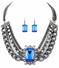 Necklace & Earring Blue Pewter Oversize Set Multi Layer