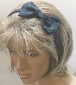 """NEW VINTAGE STYLE BLACK RIBBON FABRIC HAIR SIDE 5"""" BOW CUTE ALICE HEAD BAND e178"""