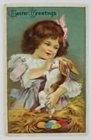 Postcard Easter Greetings Girl Holding Bunny Nest with Eggs