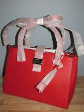 Michael Kors Bond Large Pebbled Leather Satchel Bright Red Silver $498 NWT