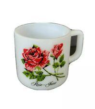 Vintage Brockway Flower of the Month Mug Cup Milk Glass June Rose mint